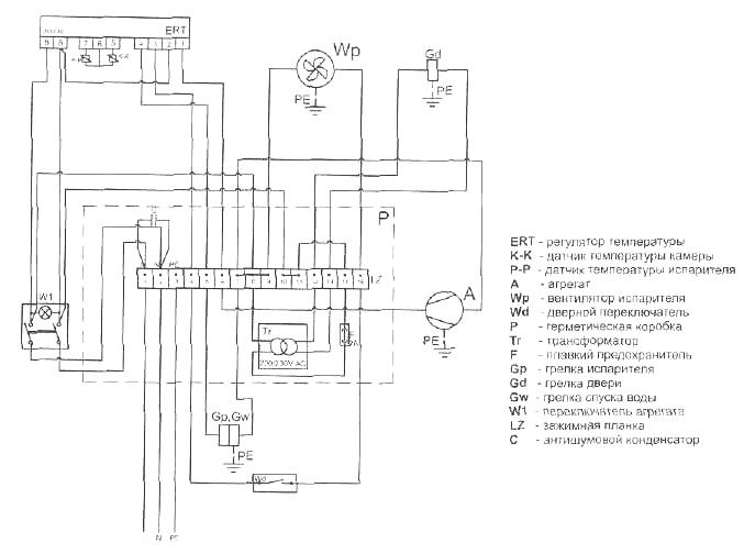 схема электрическая принципиальная холодильного шкафа полаирСВ-105S