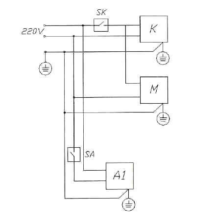 электрическая схема шкафа холодильного